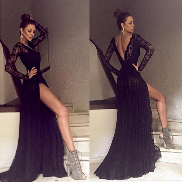 Backless O-Neck Prom Dresses,Long Prom Dresses,Cheap Prom Dresses ...