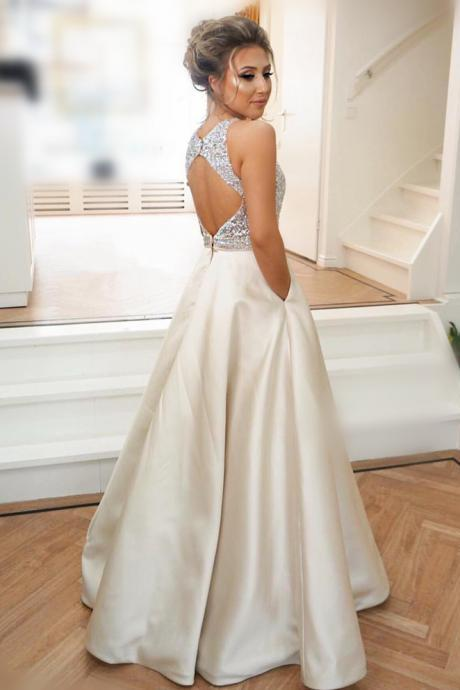A-Line Backless O-Neck Prom Dresses,Long Prom Dresses,Cheap Prom Dresses, Evening Dress Prom Gowns, Formal Women Dress,Prom Dress,C530