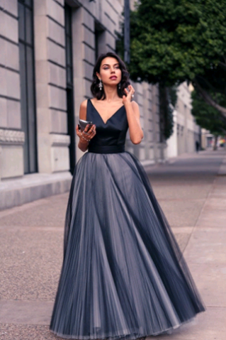 Custom Made V-Neck A-Line Pleated Tulle Floor-Length Evening Dress, Prom Dresses, Long Party Dress, Wedding Dress
