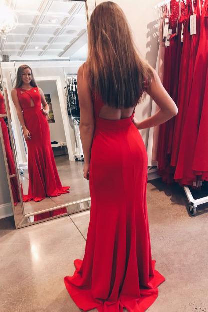 Elegant V-Neck Mermaid Red Prom Dresses,Long Prom Dresses,Cheap Prom Dresses, Evening Dress Prom Gowns, Formal Women Dress,Prom Dress,C600