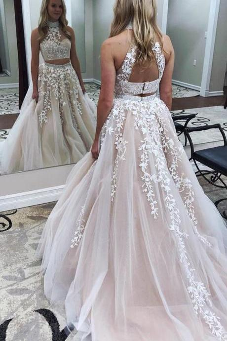 Appliques A-Line Two Pieces Prom Dresses,Long Prom Dresses,Cheap Prom Dresses, Evening Dress Prom Gowns, Formal Women Dress,Prom Dress,C616