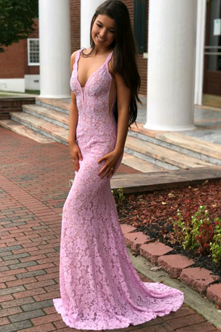 Sexy V-Neck Mermaid Lace Prom Dresses,Long Prom Dresses,Green Prom Dresses, Evening Dress Prom Gowns, Formal Women Dress,Prom Dress,C671