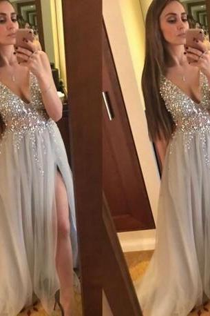 Sexy V-Neck A-Line Beading Prom Dresses,Long Prom Dresses,Green Prom Dresses, Evening Dress Prom Gowns, Formal Women Dress,Prom Dress,C706