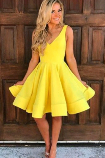 Yellow V Neck Short A Line Homecoming Dress