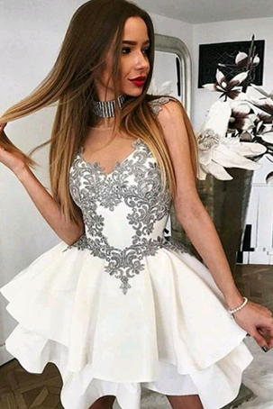 White Illusion Neckline A Line Lace Applique Layered Homecoming Dress