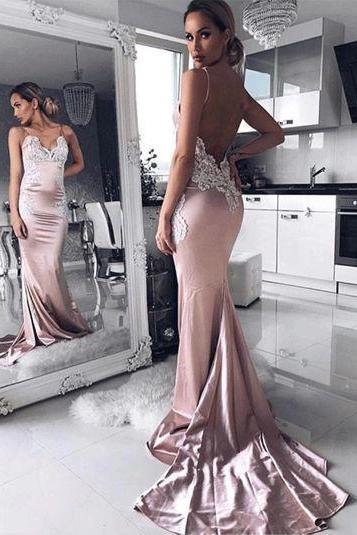 Spaghetti Straps Mermaid Appliques Prom Dresses,Long Prom Dresses,Green Prom Dresses, Evening Dress Prom Gowns, Formal Women Dress,Prom Dress C835