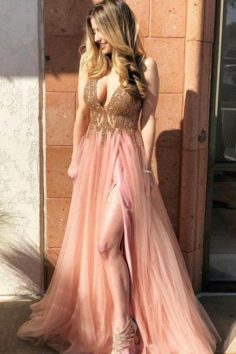 Sexy V-Neck Beading A-Line Prom Dresses,Long Prom Dresses,Green Prom Dresses, Evening Dress Prom Gowns, Formal Women Dress,Prom Dress C907