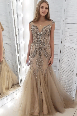 Sexy O-Neck Beading Prom Dresses,Long Prom Dresses,Green Prom Dresses, Evening Dress Prom Gowns, Formal Women Dress,Prom Dress C1004