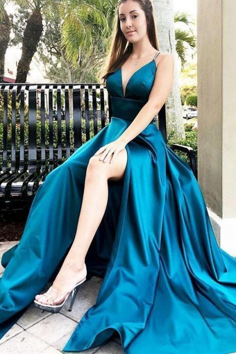 Charming Spaghetti Straps A-Line Prom Dresses,Long Prom Dresses,Green Prom Dresses, Evening Dress Prom Gowns, Formal Women Dress,Prom Dress C1006