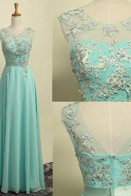 O-Neck A-Line Prom Dresses,Long Prom Dresses,Cheap Prom Dresses,Appliques Evening Dress Prom Gowns, Formal Women Dress,prom dress,C01