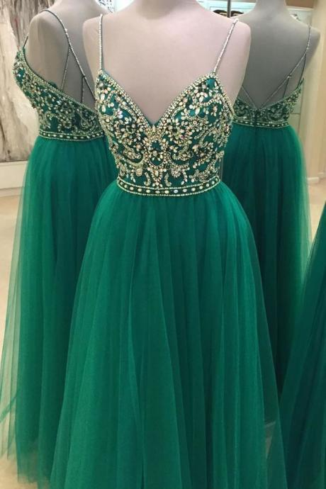 Spaghetti Straps Beading A-Line Prom Dresses,Long Prom Dresses,Cheap Prom Dresses, Evening Dress Prom Gowns, Formal Women Dress,Prom Dress,C261