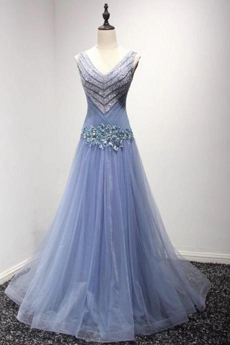 Newest V-Neck Beading A-Line Prom Dresses,Long Prom Dresses,Cheap Prom Dresses, Evening Dress Prom Gowns, Formal Women Dress,Prom Dress,C332