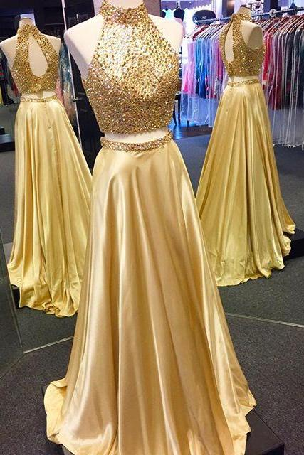 O-Neck Two Pieces A-Line Prom Dresses,Long Prom Dresses,Cheap Prom Dresses, Evening Dress Prom Gowns, Formal Women Dress,Prom Dress,C378