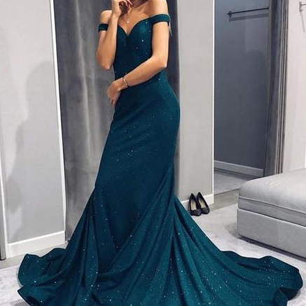 Elegant Off The Shoulder Mermaid Prom Dresses,Long Prom Dresses,Green Prom Dresses, Evening Dress Prom Gowns, Formal Women Dress,Prom Dress C877